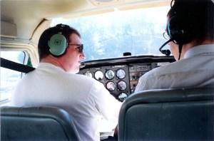 Pete flying over Manhattan in July 2001 (taken by Mathew Pelto)