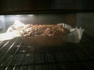 Shh . . . the cake is baking.